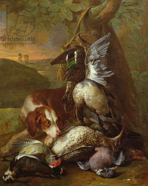 A Dog Guarding Game (oil) (one of a pair, see also 40086)