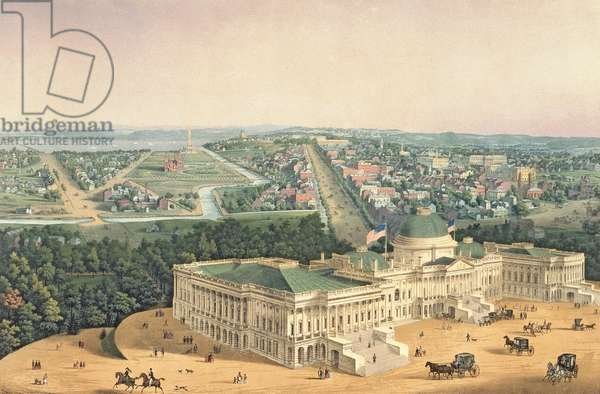 View of Washington, pub. by E. Sachse & Co., 1852 (colour litho)