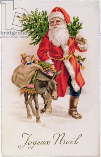 """Joyeux Noel"", Father Christmas, Victorian postcard"