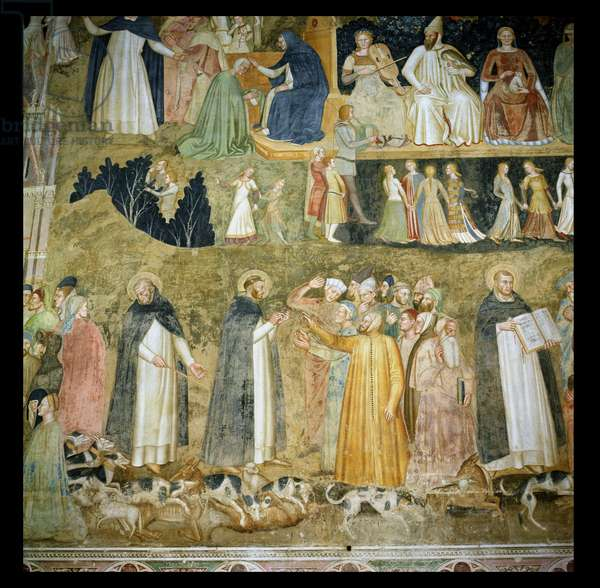 St. Dominic Sending Forth the Hounds of the Lord, with St. Peter Martyr and St. Thomas Aquinas, c.1369 (fresco)