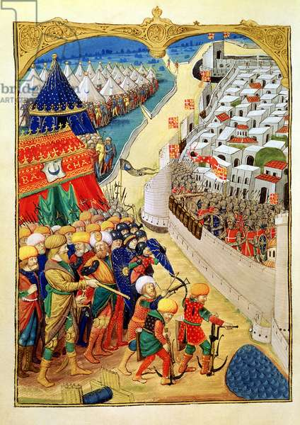 Lat 6067 f.55v The Turkish forces preparing for battle outside the walls of Rhodes in 1480, from 'A History of the Siege of Rhodes', by Guillaume Caoursin, 1483 (vellum)