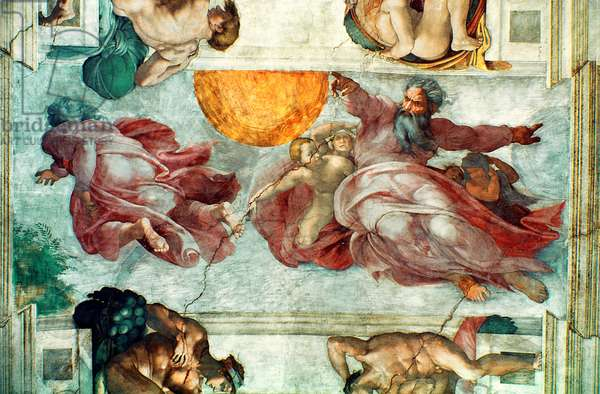 Sistine Chapel Ceiling: Creation of the Sun and Moon, 1508-12 (fresco)