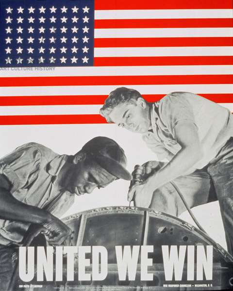 """""""United We Win"""", US 2nd World War Manpower Commission Poster"""