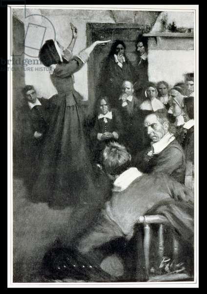 Anne Hutchinson Preaching in her House in Boston, 1637, illustration from 'Colonies and Nation' by Woodrow Wilson, pub. in Harper's Magazine, 1901 (litho)