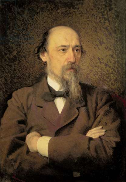Portrait of Nikolay Alekseyevich Nekrasov, 1877 (oil on canvas)
