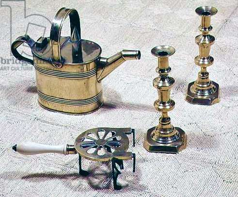 Pair of candlesticks, watercan and trivet, 19th century