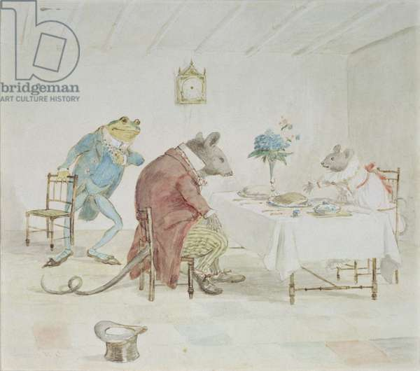 'Pray, Miss Mouse, will you give us some beer', illustration from 'A Frog He Would A-Wooing Go' (w/c on paper)