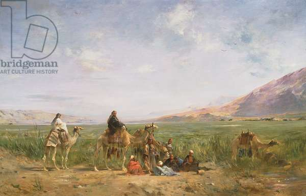 Travellers resting at an Oasis