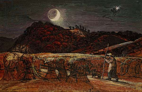 Cornfield by Moonlight, with the Evening Star, c.1830 (w/c & bodycolour with pen & ink)