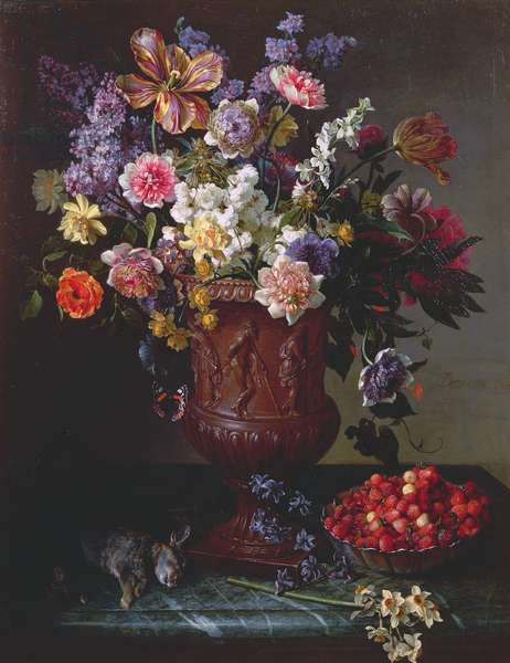Flowers in a Sculpted Urn with a Bowl of Wild Strawberries and Hare on a Ledge, 1715