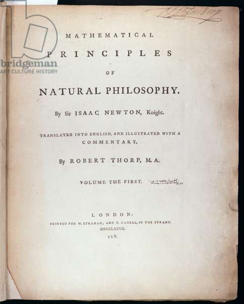 Frontispiece to Volume I of 'The Mathematical Principles of Natural Philosophy' by Sir Isaac Newton (1642-1727) 1777 (engraving)