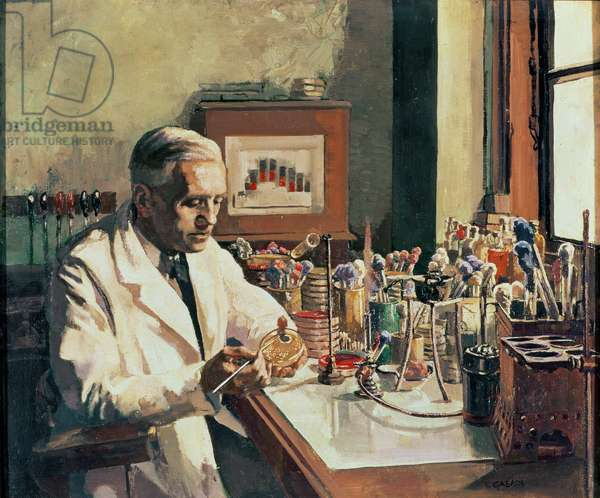 Sir Alexander Fleming (1881-1955), the discoverer of penicillin