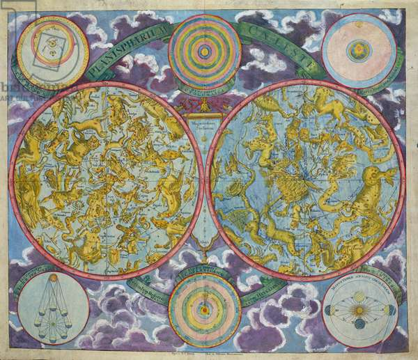 Celestial Map of the Planets (coloured engraving)