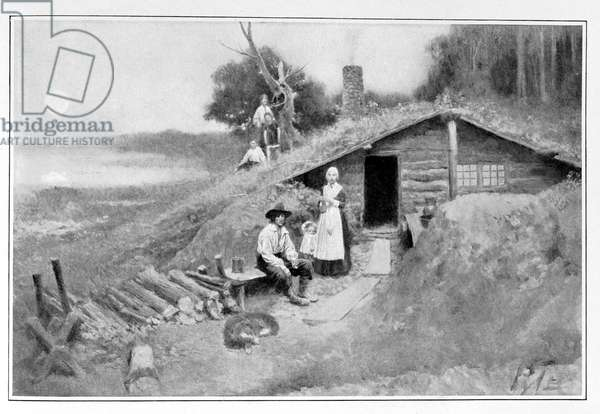 A Pennsylvania Cave-Dwelling, illustration from 'Colonies and Nation' by Woodrow Wilson, pub. in Harper's Magazine, 1901 (litho)
