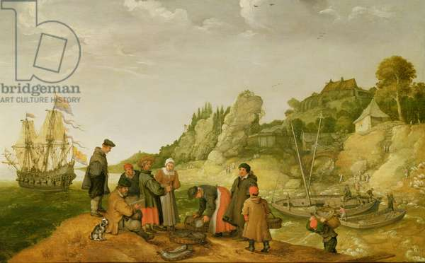 Fisherman unloading and selling their catch on a rocky shoreline