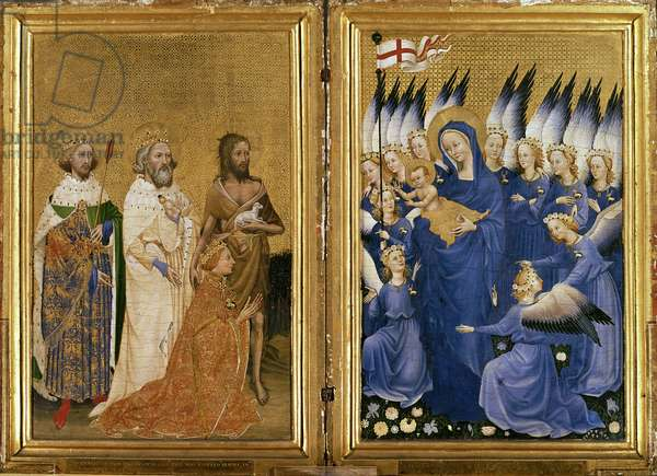 Richard II Presented to the Virgin and Child by his Patron Saint John the Baptist and Saints Edward and Edmund, c.1395-99 (egg tempera on oak)