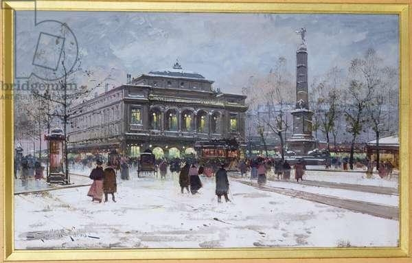The Place du Chatelet, Paris (oil on canvas)