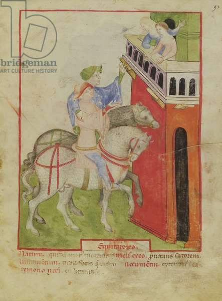 Nouv Acq Lat 1673 f.93 Horse Riding, from 'Tacuinum Sanitatis', c.1390-1400 (vellum)