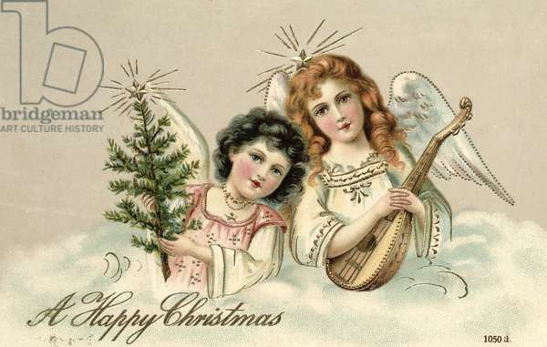 Angels with a Lute, Victorian postcard
