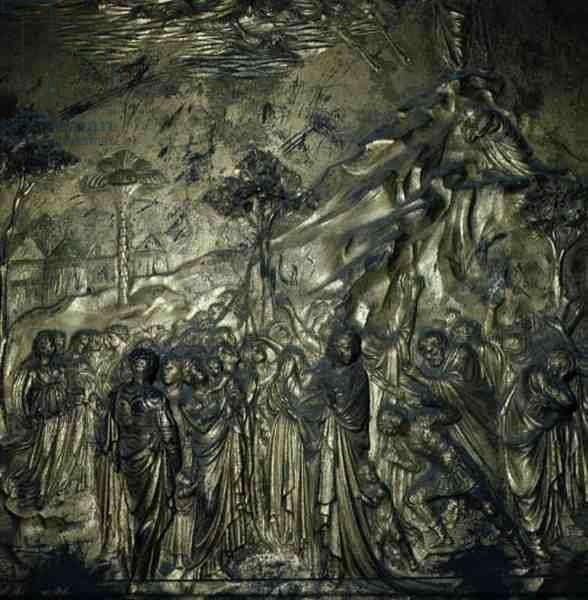 The Story of Moses on Mount Sinai, detail from the Doors of Paradise, 1425-52 (bronze)