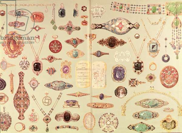 Jewellery from the 'Tiffany Catalogue', 1890 (colour litho)