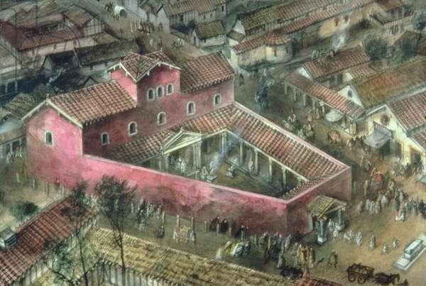 Reconstruction of the 2nd Century Triangular temple at Verulamium