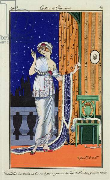 Evening wear from `Costume Parisien' by Robert Pichenot, 1913 (colour litho)