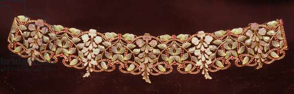 Choker, gold enamelled and inset with rubies, by Wolfers, Belgium, late 19th century