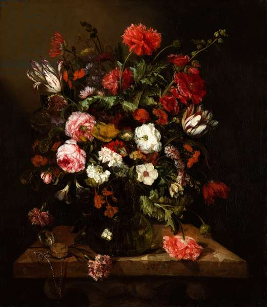 Flower Still Life with a Timepiece,  c.1663-65 (oil on canvas)
