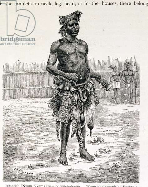 Azandeh (Nyam-Nyam) Binsa or Witch Doctor, engraved by Jahrmargt, from 'The History of Mankind' by Prof. Friedrich Ratzel, pub. in 1904 (engraving)