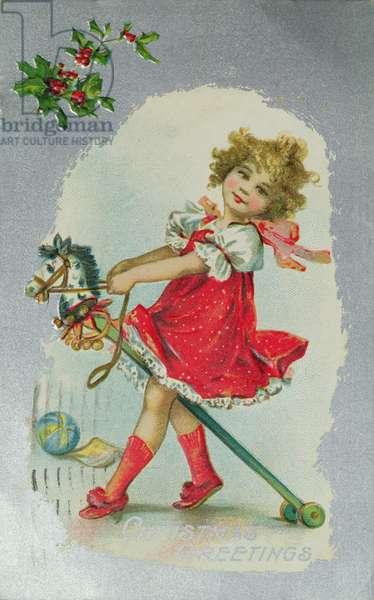 Girl on a Hobby Horse, Victorian postcard