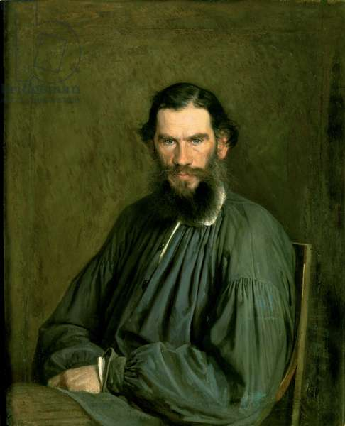 Portrait of Count Lev Nikolaevich Tolstoy (1828-1910) 1873 (oil on canvas)