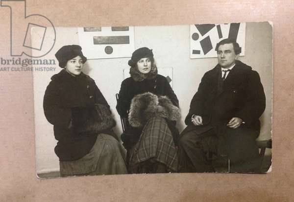 Olga Rozanova, Xenia Boguslavskaya and Kasimir Malevich at the Exhibition 0,10, 1915 (b/w photo)
