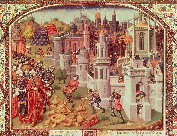 Fr.20124 f.331 The Looting of Jerusalem after the Capture by the Christians in 1099, illuminated miniature from a universal chronicle, 1440 (vellum)