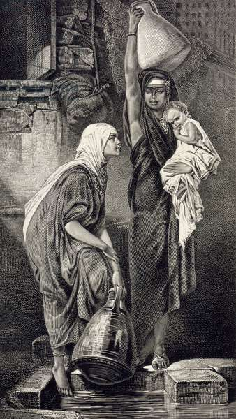 Egyptian Women Drawing Water, 19th century (engraving on paper)