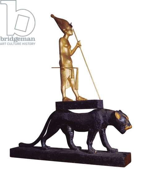 Statuette of the king upon a Leopard. from the Tomb of Tutankhamun (c.1370-1352 BC) New Kingdom (wood & gilded bronze) (see also 228569)