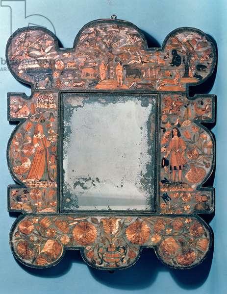 Straw-work mirror frame, 1670-80