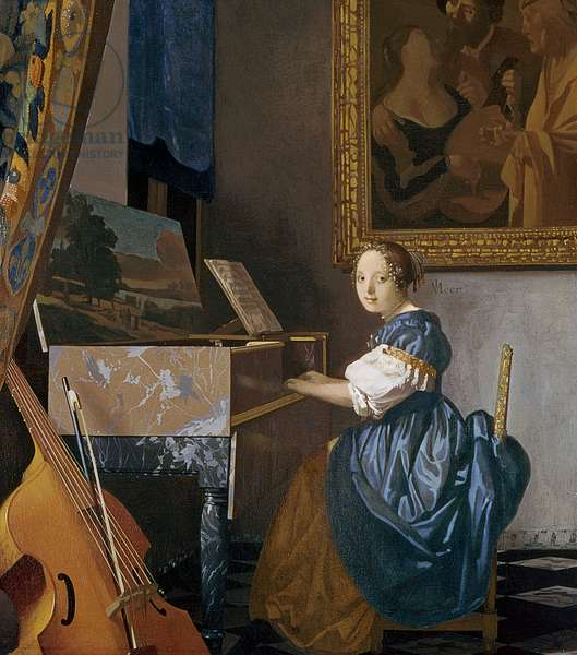 A Young Lady Seated at a Virginal, c.1670 (oil on canvas)