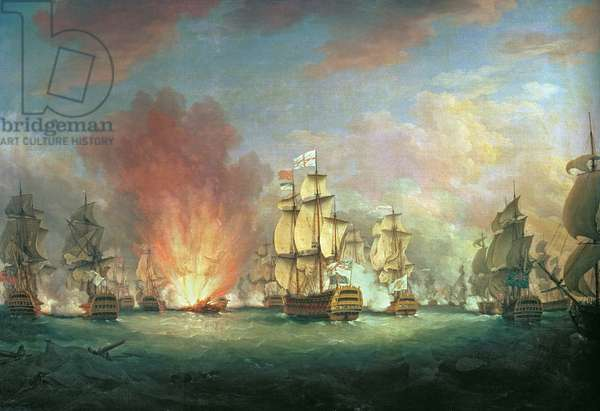 The Moonlight Battle: The Battle off Cape St Vincent, 16th January 1780 (oil on canvas)