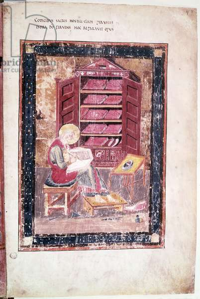 Ms 1 f.vr Ezra writing the sacred books from memory in 458 BC, from the Codex Amiatinus (vellum)
