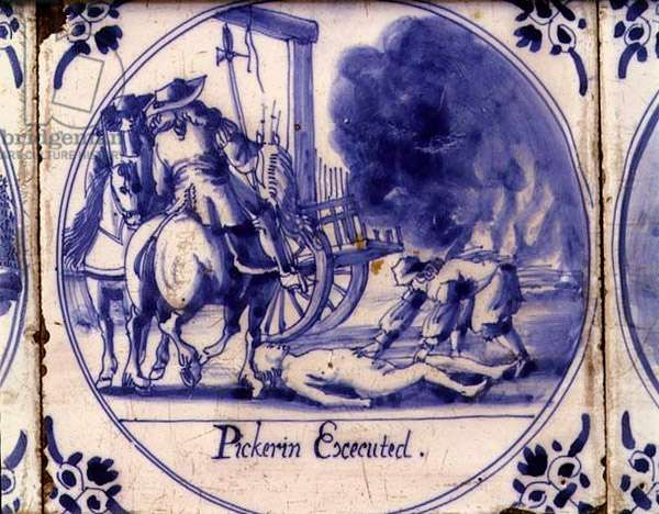 Tile showing the death of Pickering