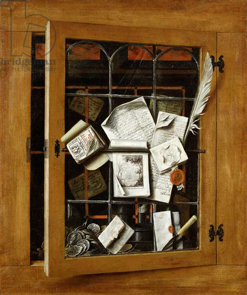 A trompe l'oeil of an open glazed cupboard door, with numerous papers and objects, 1666 (oil on canvas)