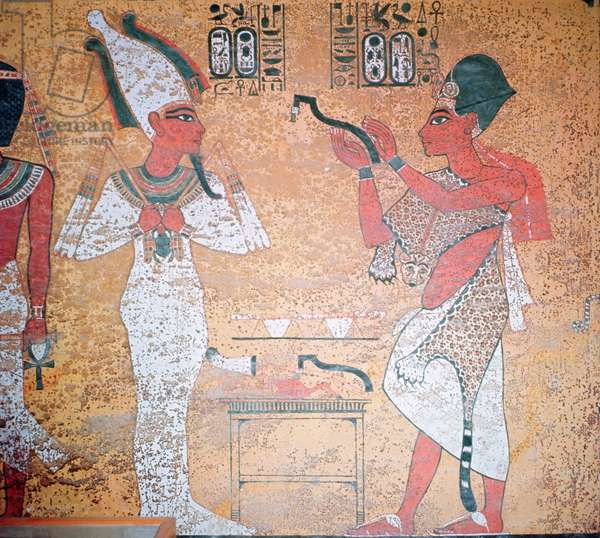 Ay performing the opening of the mouth ceremony on the mummy of Tutankhamun (c.1370-1352 BC) from the Tomb of Tutankhamun, New Kingdom (wall painting)