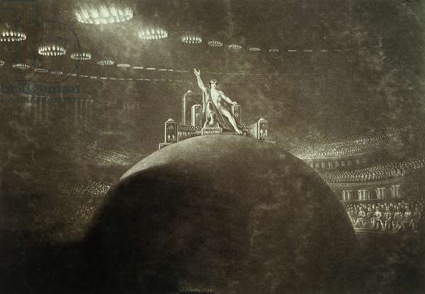 Satan presiding at the Infernal Council, 1824 (engraving)