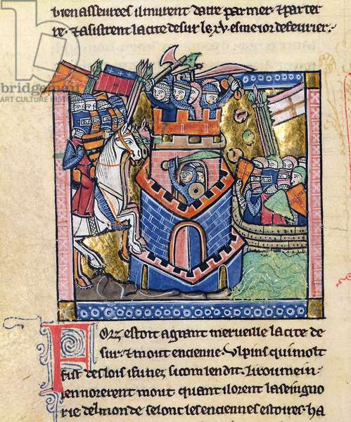 Fr 2630 f.111v  Tyre being blockaded by the Venetian fleet and besieged by Crusader knighthood, from the Estoire d'Outremer (vellum and gold leaf)