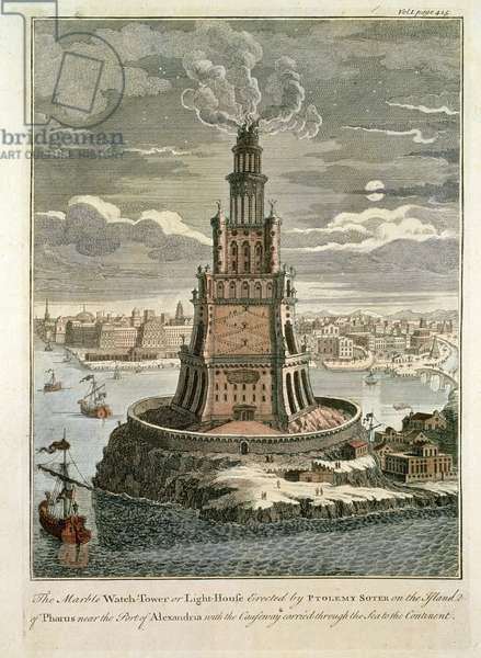 The Marble Watch Tower or Lighthouse Erected by Ptolemy Soter on the Island of Pharos, near the Port of Alexandria (coloured print)