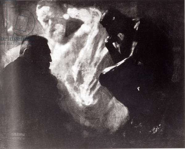 Auguste Rodin (1840-1917) with his sculpture 'The Thinker', 1905 (b/w photo)