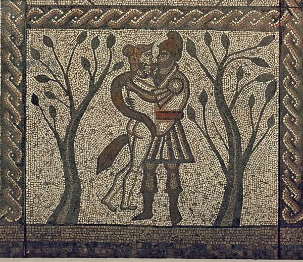 Dido and Aeneas embracing, from the mosaic pavement in the Roman villa at Low Ham, c.350 AD (mosaic) (detail of 5959)