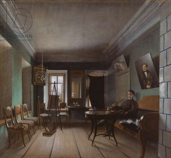 Interior of Bykov's House, 1850s (oil on canvas)