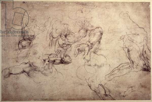 W.61v Male figure studies (pencil on paper)